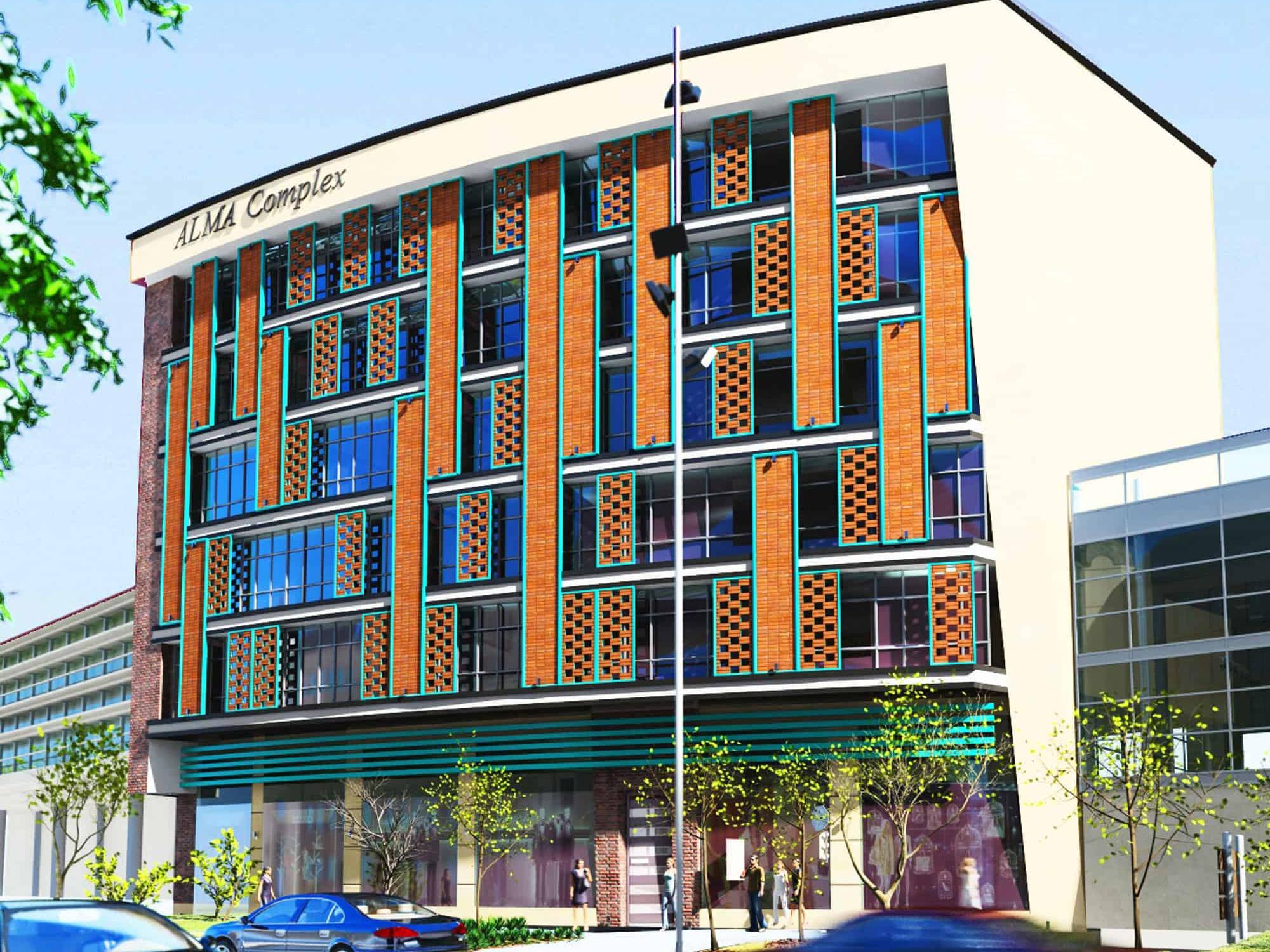 طراحی و معماری مدرن پوسته ای مجتمع تجاری اداری آلما