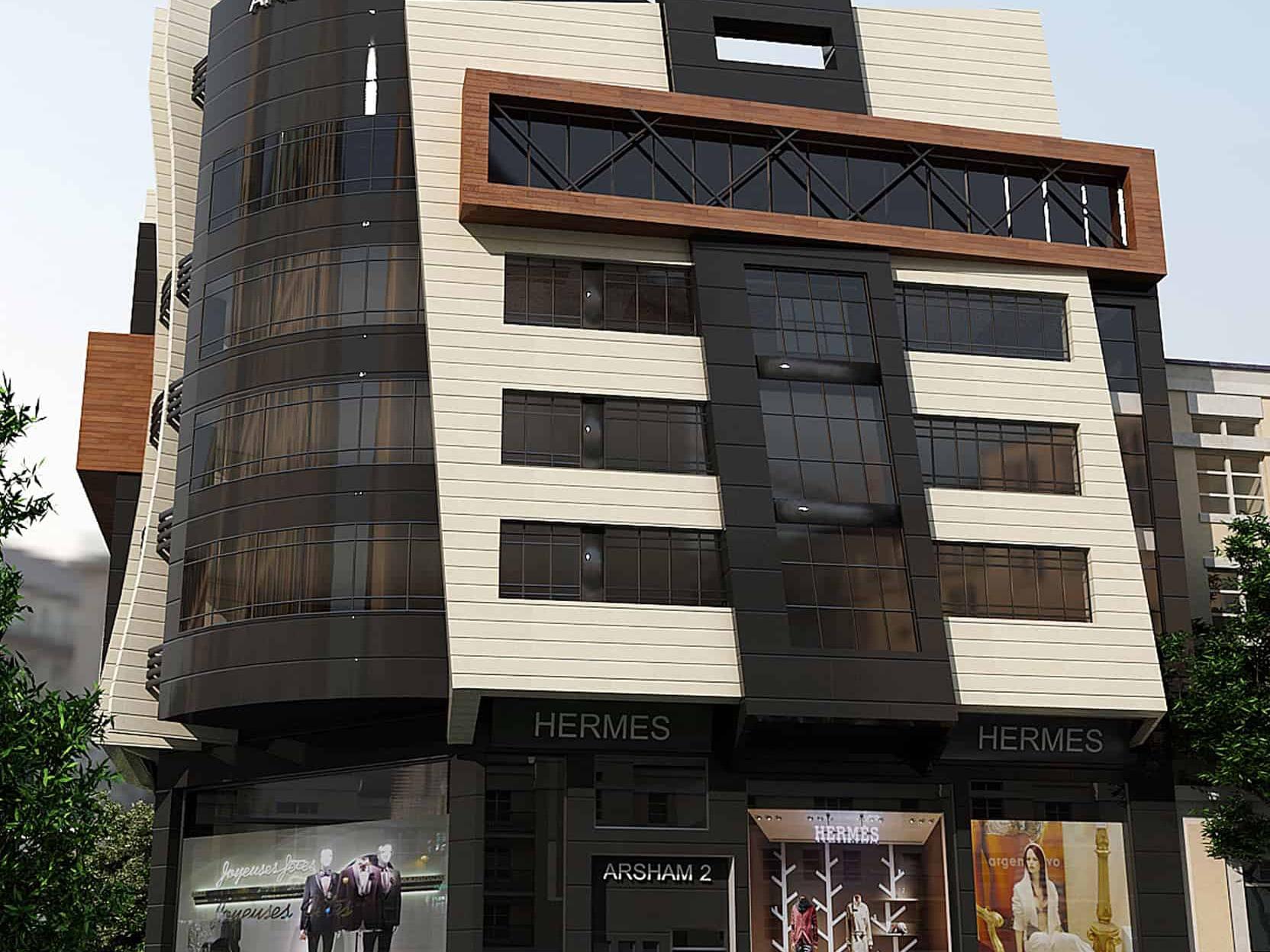 معماری و طراحی مدرن مجتمع اداری تجاری آرشام